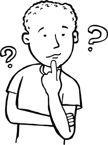Black and white line drawing of the upper torso of a young male in a thinking pose. Two question marks are on either side of his head.
