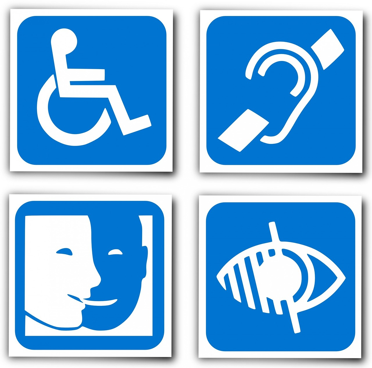 Thinking about accessibility part 1 the innovative instructor four universal signs for disabilities wheelchair access hearing access captioning visual accession buycottarizona Gallery