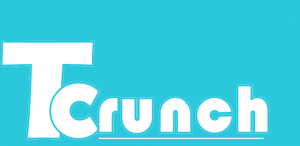 Tcrunch logo. Tcrunch in white letters on blue background.