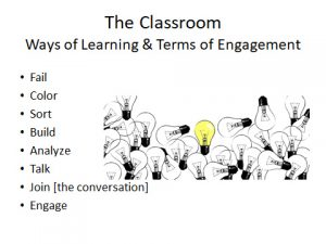 Slide from Anne-Elizabeth Brodsky's presentation listing 8 ways of learning.