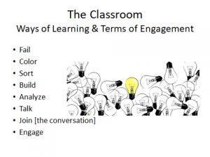 Slide from Anne-Elizabeth Brodsky's presentation listing 8 ways of learning.
