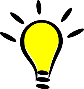Cartoon rendering of an illuminated light bulb.