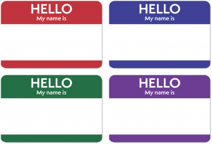 A sheet of four names tags in red, blue, green, and purple, saying Hello My Name Is.