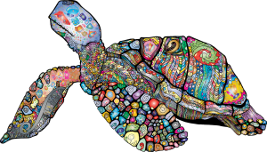 Sea turtle rendered as a multi-colored mosaic.