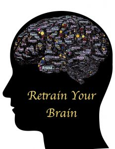 Retrain Your Brain: Silhouette of head with brain-shaped word cloud describing growth mindset values.