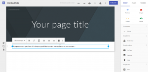Screenshot example of the New Google Sites editing interface.