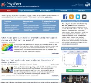 Screenshot of PhysPort home page.